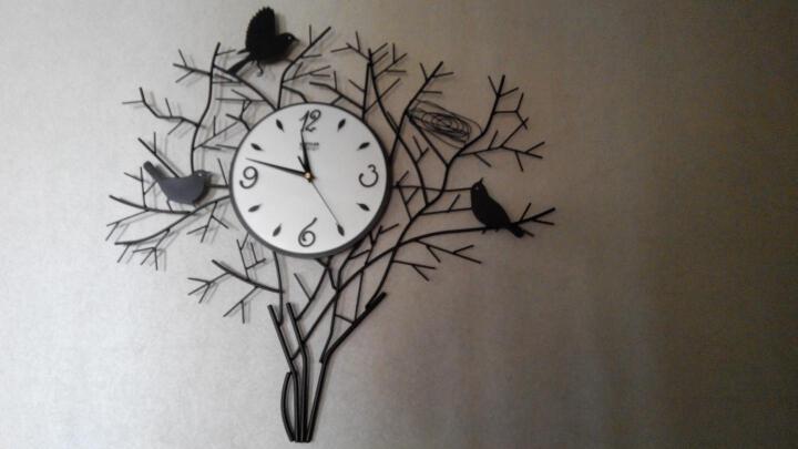 橡家 客厅静音创意挂表 铁艺田园欧式艺术时尚个性大壁钟倦鸟归巢客厅挂钟 玻璃表盘 晒单图