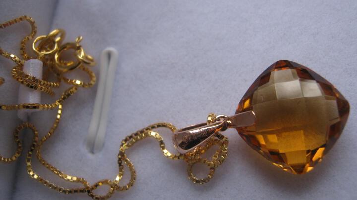 Lescreation莉萨珠宝7.5克拉天然水晶套链吊坠女18K玫瑰金紫晶黄晶彩色宝石项链 18K黄水晶吊坠 晒单图