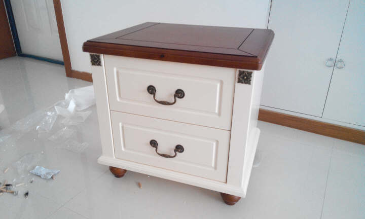优漫佳 地中海实木床头柜美式乡村床边柜卧室田园收纳柜白色抽屉储物柜 不单卖 复古白Y902 晒单图