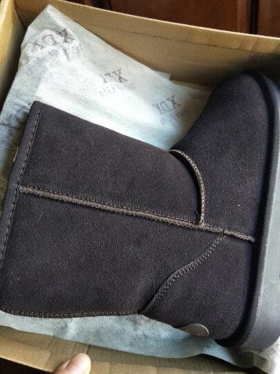 纯牛皮经典款女士款雪地靴冬季中筒防滑保暖棉鞋女鞋短靴 低筒栗色 36 晒单图