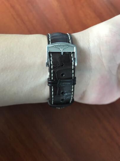 智盛手工配件鳄鱼皮表带 代用浪琴名匠表带瑰丽律雅男女真皮手表带 金扣黑皮LQ-AAB 21mm 晒单图