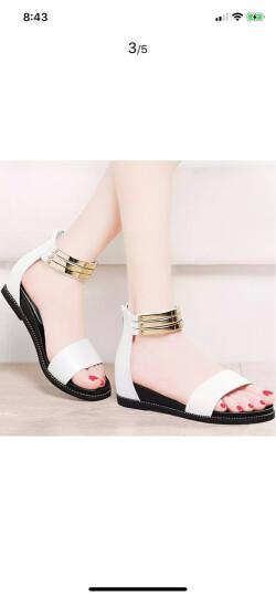 名曼凉鞋女夏季浅口露趾 低跟女士凉拖鞋 夏天后包跟拉链女生鞋子 白色 38 晒单图