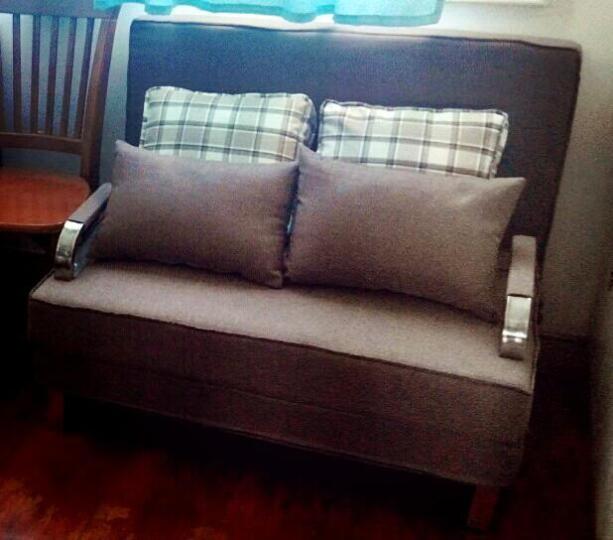 随派多功能折叠沙发床现代简约小户型折叠床单人双人小沙发办公室书房布艺休闲可拆洗金属沙发床 咖啡色柔绒布 75cm宽单人位 晒单图