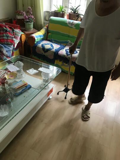 优康德 黑色美式小四脚拐杖UKD-2600 铝合金高低可调老年人手杖 防滑拐棍 晒单图