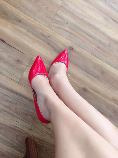 可情小美 欧美春夏款时尚OL职业女超高跟鞋 糖果色漆皮尖头婚鞋 夜店性感细跟单鞋 10cm 大红色 39 晒单图