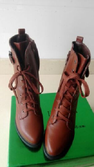百洛思 女靴短靴秋冬上新马丁靴踝靴女鞋粗跟高跟鞋长靴子 9185-黑色 标准码-36 晒单图
