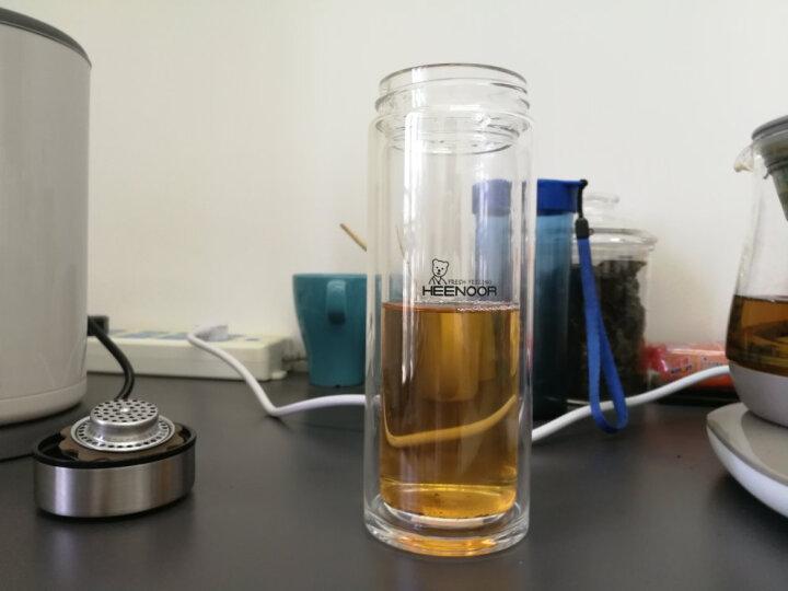 希诺(HEENOOR) 希诺双层玻璃杯 便携带盖杯子男士商务车载水杯办公室泡茶杯过滤水杯 适中适量345ML 晒单图