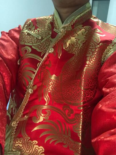 涵纱漫舞秀禾服男2019新款新郎敬酒服唐装中山装中式婚礼结婚礼服 金龙长袍 XL 晒单图