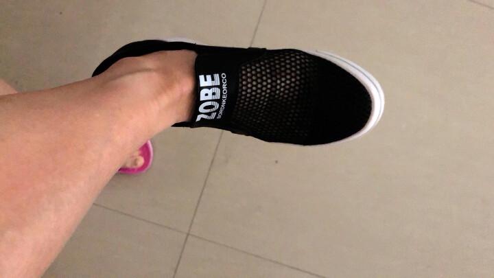 浪莎夏季女士休闲小白鞋镂空透气平底内增高鞋韩版女学生运动套脚中跟松糕女凉鞋夏天舒适洞洞单鞋 黑色 36 晒单图