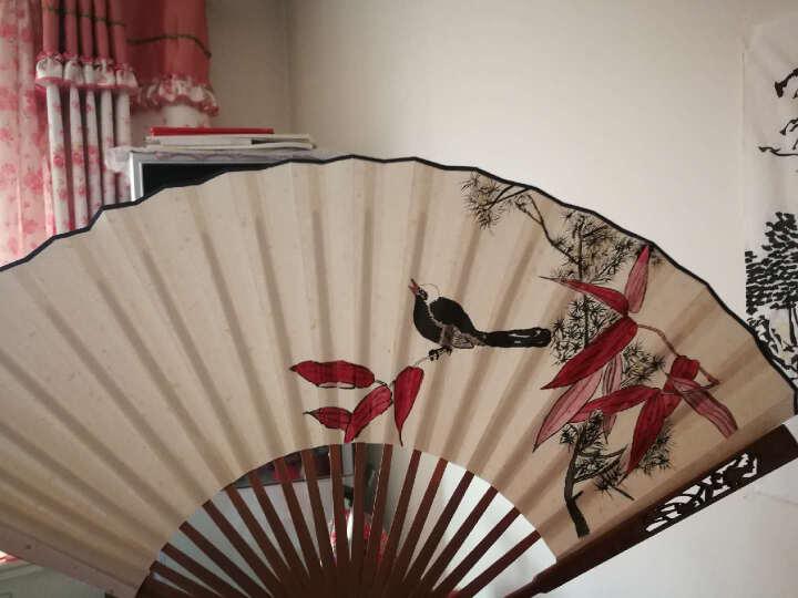 文房四宝 宣纸空白扇面竹扇绘画创作扇子复古风折扇毛笔书法作品用 9寸仿竹节 折扇 晒单图