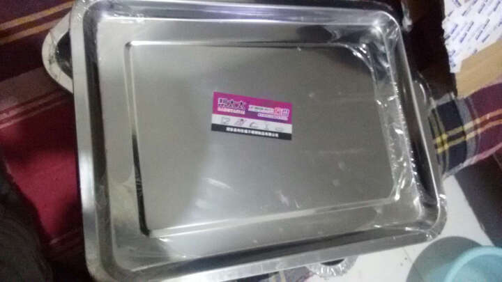 帮太太 加厚不锈钢方盘 不锈钢托盘 长方形托盘子 餐盘 烧烤盘 饭盘菜盘 浅盘40*30*2cm 晒单图
