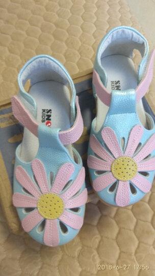 斯纳菲童鞋 女童凉鞋 夏季新款 花朵包头镂空 儿童凉鞋 女童中大童 沙滩凉鞋 公主鞋 蓝色 25码/实测鞋垫长15.5cm 晒单图