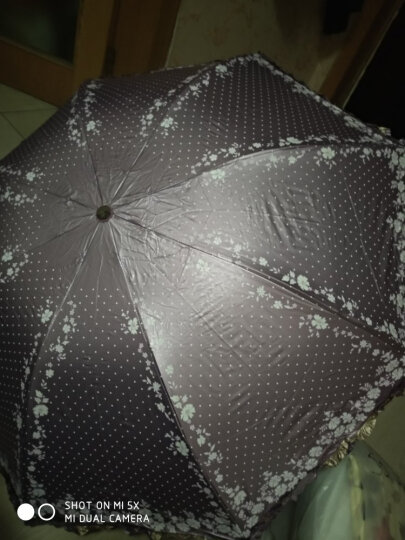 天堂伞 UPF50+双面柔粉亮胶丝印拼裙边三折晴雨伞太阳伞 海棠红 30049ELCJ 晒单图