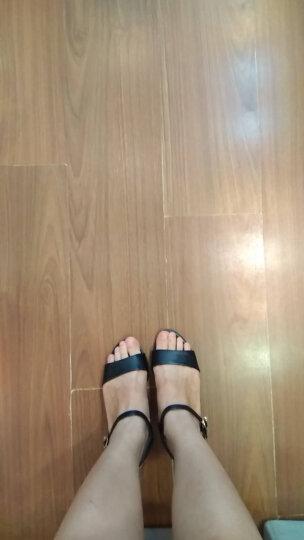 古来登2017新款同款凉鞋女夏中跟粗跟百搭一字扣带女鞋 黑色 34 晒单图