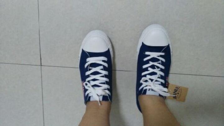 夏季新女士单鞋特大码情侣款帆布鞋韩版纯色低帮女士平底学生板鞋 蓝色 40 晒单图