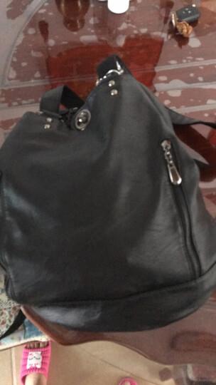 优客优可新款多功能双肩包女包 欧美潮软皮大容量单肩包女学院风个性旅行背包 黑色 晒单图