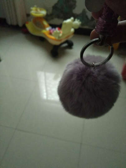 斯丽卡 獭兔毛球钥匙扣车用毛绒挂饰女士编织绳钥匙链钥匙环时尚包挂件 浅紫色毛球 晒单图