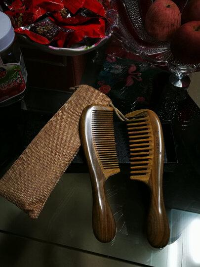 缇芙尼(TIFUNI)绿檀木梳子男女加厚圆柄梳送老人头部按摩保健梳玉檀宽细齿密齿梳套装 妈妈老婆礼物 礼盒套装2支 晒单图