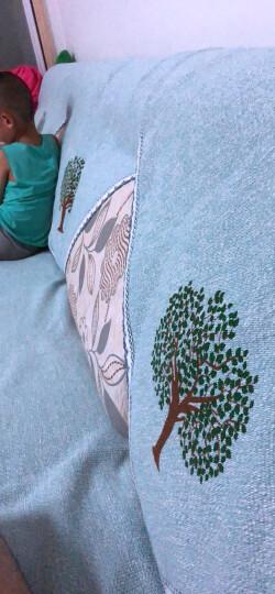 四季亚麻印花沙发垫坐垫布艺棉麻沙发巾罩套装简约现代飘窗垫子全盖 包边梅花鹿灰色 70*150cm+70*180cm 晒单图