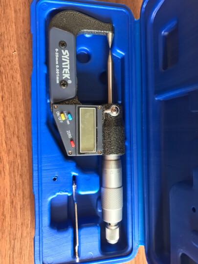 syntek量具外径数显千分尺 电子分厘卡 特殊型测头0-25mm螺旋测微器 高精度测量 平尖头30° 晒单图