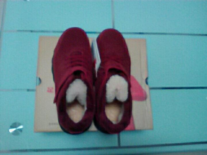 足力健男冬季羊毛靴保暖加绒老人棉鞋防滑爸爸中老年健步鞋 红色(女款) 40 晒单图