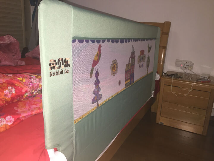 兔贝乐(rabbitbel) 婴儿童床围 欧式防摔床护栏1.8米床挡板防掉床宝宝通用护栏 薄荷绿小城堡 1米5 晒单图