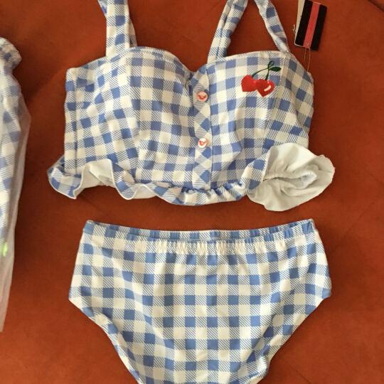贝迪斯 清新文艺钢托小胸聚拢分体三件套泡温泉女泳衣90up 蓝白格 L 晒单图