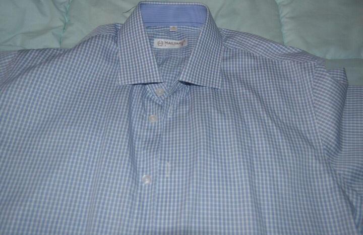 美尔雅(MAILYARD)短袖衬衫男 纯棉商务休闲男士衬衣 男式职业装 工作服 218 蓝色格纹 170/92A(40) 晒单图