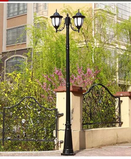 裕见庭院灯草坪灯 路灯户外灯室外灯欧式花园灯草地灯二头高杆路灯 四头古铜色2.6米 晒单图