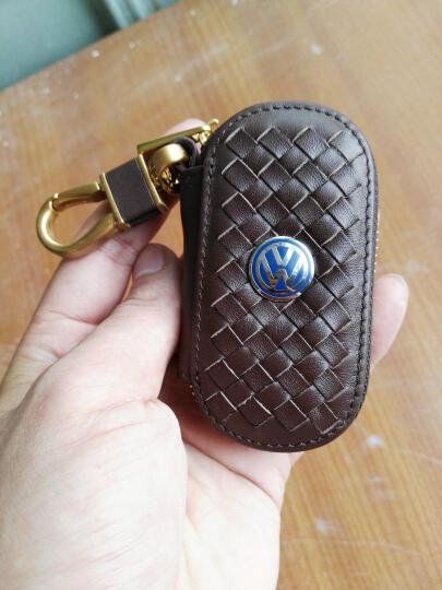 潜劲 汽车真皮钥匙包 大众奔驰奥迪沃尔沃路虎别克本田福特丰田日产凌志起亚现代钥匙包皮套扣 奔驰车标A级B级C级S级GLK260ML300 黑色--灰扣 晒单图