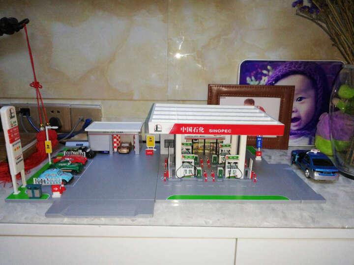 中石化加油站模型玩具场景套装洗车房加油站组合1014 中石化加油站模型(无灯光版)+5辆合金车 晒单图