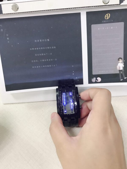 时刻美(skmei)手表男士运动电子表创意时尚腕表夜光防水男女情侣表LED学生国产男表 1013黑色大号(防水) 晒单图