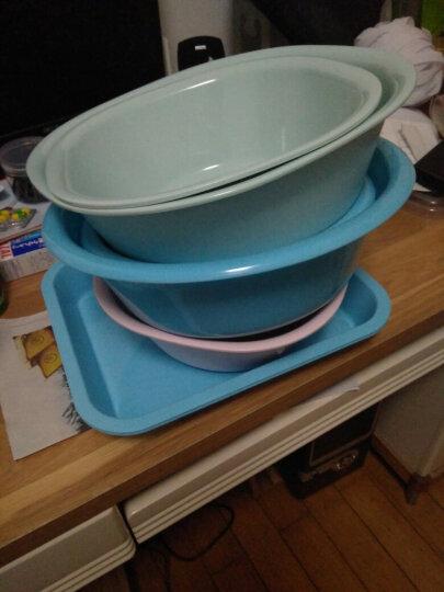 茶花茶具长方形托盘茶盘水杯托盘餐盘水果盘塑料茶盘 蓝色 晒单图