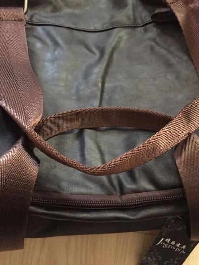 QIGER/琦格尔手提旅行包pu皮大容量商务出差男士单肩行李袋短途旅游包 黑啡色 晒单图