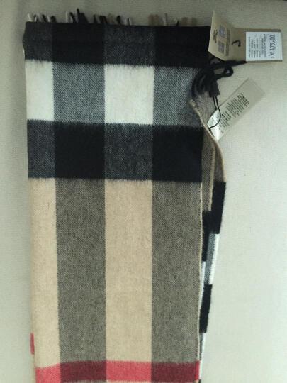 BURBERRY巴宝莉围巾奢侈品中性经典格纹流苏羊绒 3994165        灰色168*30c 晒单图