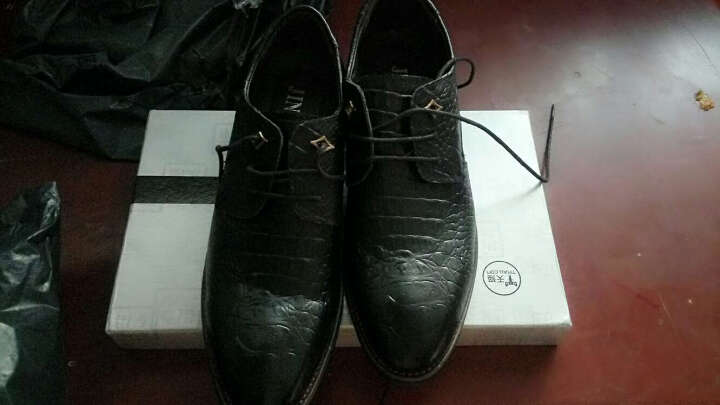 MacyGray鳄鱼皮鞋商务男士皮鞋休闲正装鞋 黑色 42码 晒单图