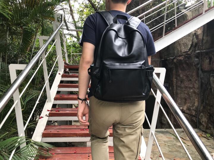 第九城(V.NINE)双肩包 男士大容量旅行背包14英寸/15.6英寸电脑包韩版休闲中大学生书包 款式2-宝蓝配米白(832989) 晒单图