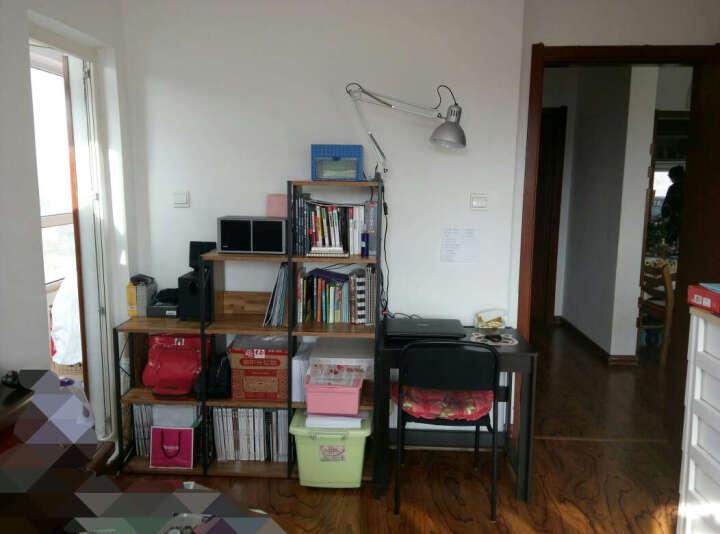 思客 简约书架书柜组合4层置物架 书房书橱层架隔断 简易收纳储物架 创意九格阶梯架 金橡木拼色/左低右高 晒单图