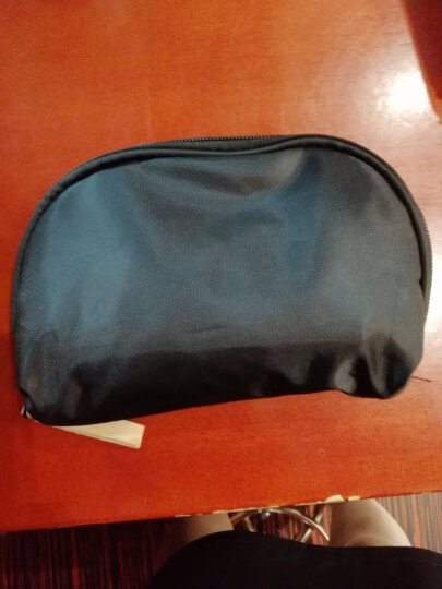 小号便携旅行简约化妆袋手拿包韩版包中包化妆品收纳包扇形化妆包 黑色 晒单图