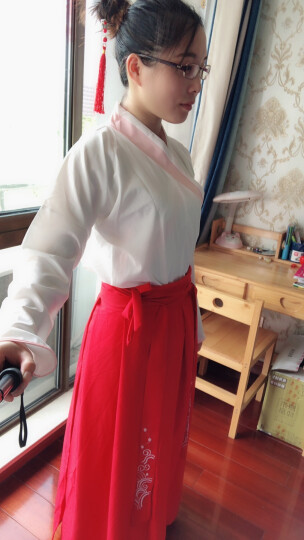 古装实拍汉元素设计改良汉服女枣红色鱼鳞交领襦裙日常中国风女装 梅花手绘伞【不防雨】 S155身高 晒单图