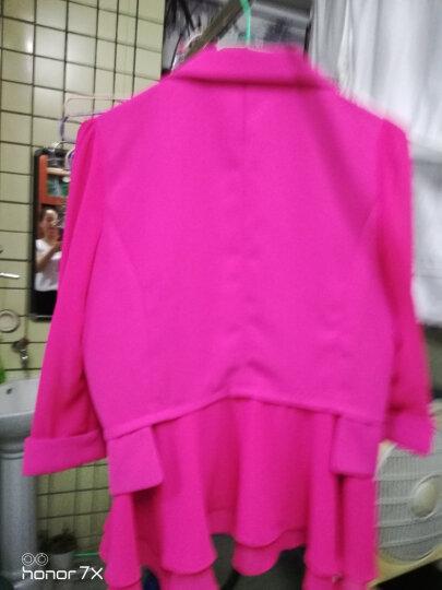 小西装女2019夏季新款修身职业装外套女时尚荷叶边白色西服女短款 黄色中袖 2XL (建议118-126斤) 晒单图