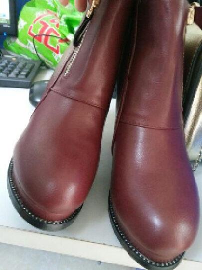 盾狐2018新款高跟鞋女厚底及踝靴防水台短靴女粗跟金属链女鞋子 DH A57-10棕色 36 晒单图