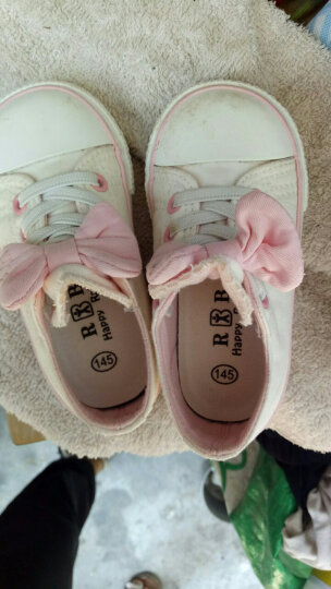 【专区58元2件】人本帆布鞋儿童鞋女宝宝蝴蝶结公主鞋新款幼儿园室内鞋 白色 19 晒单图
