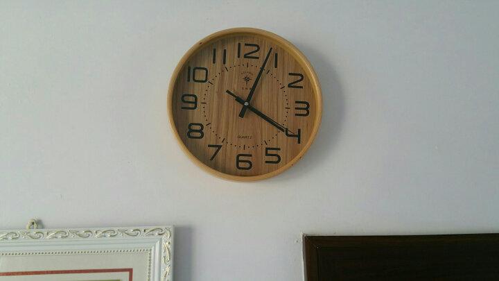 北极星(POLARIS) 时尚卧室客厅钟表日式简约家用大挂钟北欧创意静音圆形实木钟表宜家简约石英钟 中号条形面 晒单图