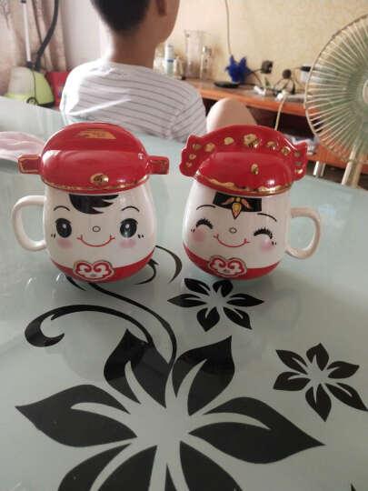 铂玉 创意礼品可爱情侣对杯带盖水杯 喜庆婚庆陶瓷马克杯子结婚礼物 婚庆杯一对 1314背面一对喜庆杯 晒单图