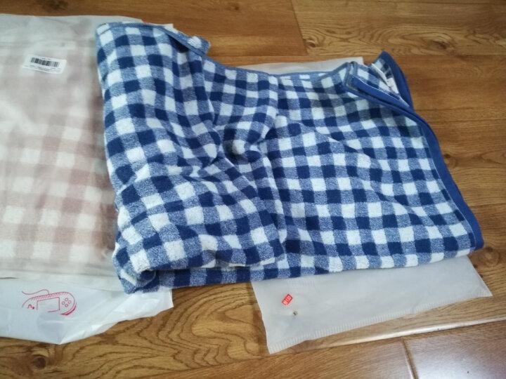 三利 纯棉色织格纹大浴巾 75×140cm 男女同款 柔软舒适吸水裹身巾 深海蓝 晒单图