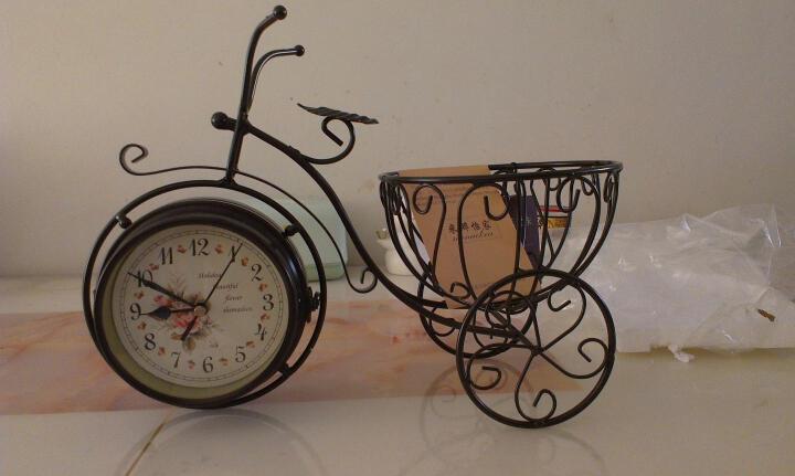 米娜怡家(MINAIKEA)钟表 创意田园座钟欧式静音现代时钟 客厅个性大号笔筒石英钟表 自行车白色 晒单图