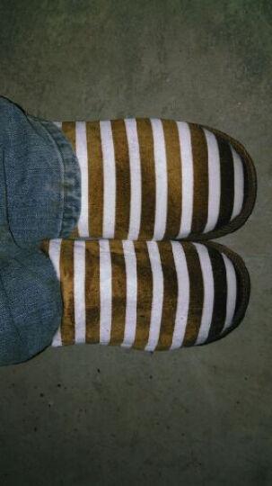 火轮 秋冬季男女居家地板拖鞋保暖  情侣家居厚底室内棉拖鞋 棕色 43/44 晒单图