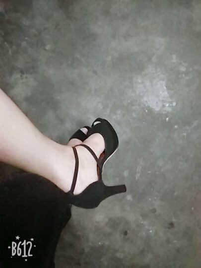 迪万凉鞋女2019新款夏季防水台细跟鱼嘴鞋高跟绑带大码女鞋 L6603黑色 37 晒单图