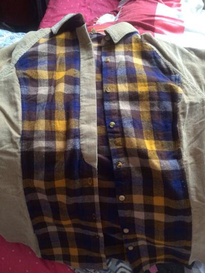 华伊格 春装新款灯芯绒衬衫英伦复古修身格子拼接长袖衬衣女 黄色格 XL 晒单图
